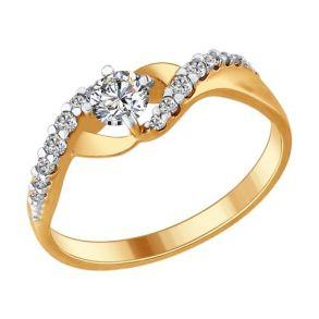 Кольцо из золочёного серебра с фианитами 93010617 SOKOLOV