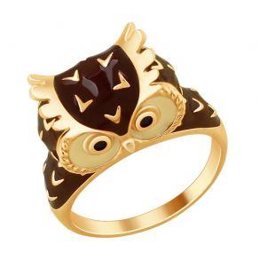 Кольцо «Сова» с эмалью и фианитами 93010717 SOKOLOV