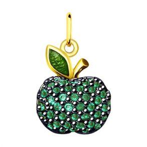 Подвеска «Яблочко» из золочёного серебра с фианитами 93030360 SOKOLOV