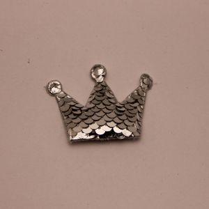 """`Патч """"Корона с пайетками"""", 53*40 мм, цвет серебро"""