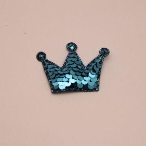 """`Патч """"Корона с пайетками"""", 53*40 мм, цвет голубой"""