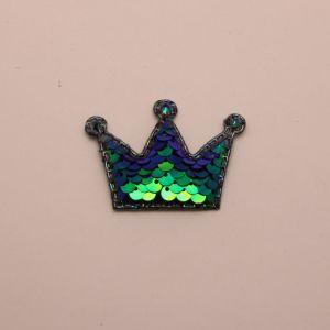 """`Патч """"Корона с пайетками"""", 53*40 мм, цвет зеленый"""