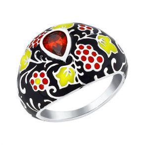 Кольцо из серебра с разноцветной эмалью 94011117 SOKOLOV