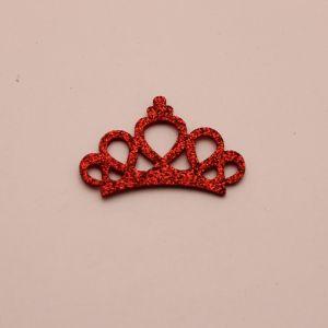"""Патч """"Корона с блестками"""", 46*31 мм, цвет  красный (1уп = 25шт)"""