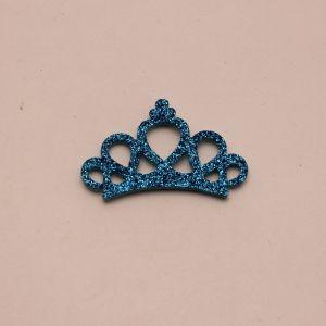 """`Патч """"Корона с блестками"""", 46*31 мм, цвет  голубой (1уп = 5шт)"""