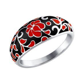Кольцо с эмалью в чёрно-красной цветовой гамме 94011111 SOKOLOV