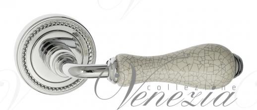 Дверная ручка Venezia Colosseo белая керамика паутинка D3 полированный хром