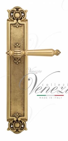 Дверная ручка Venezia PELLESTRINA на планке PL97 французское золото + коричневый