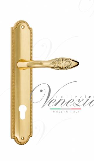 Дверная ручка Venezia Casanova CYL на планке PL98 полированная латунь