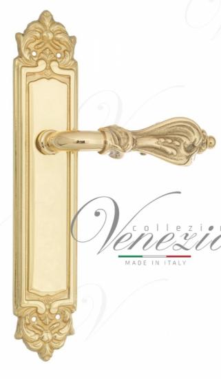 Дверная ручка Venezia Florence на планке PL96 полированная латунь