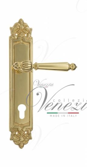 """Дверная ручка Venezia """"PELLESTRINA"""" CYL на планке PL96 полированная латунь"""
