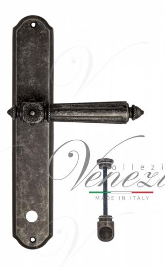 """Дверная ручка Venezia """"CASTELLO"""" WC-1 на планке PL02 античное серебро"""