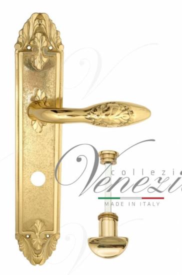 """Дверная ручка Venezia """"CASANOVA"""" WC-2 на планке PL90 полированная латунь"""