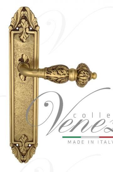 """Дверная ручка Venezia """"LUCRECIA"""" на планке PL90 французское золото + коричневый"""
