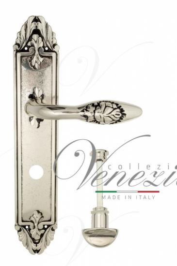 """Дверная ручка Venezia """"CASANOVA"""" WC-2 на планке PL90 натуральное серебро + черный"""