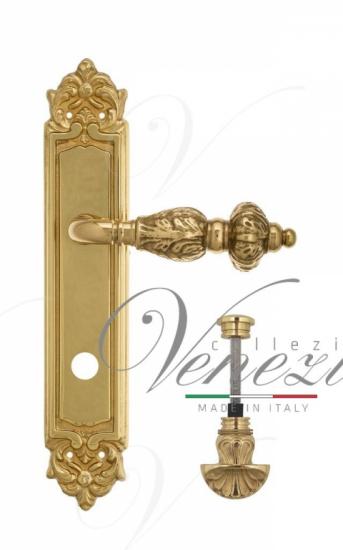 """Дверная ручка Venezia """"LUCRECIA"""" WC-4 на планке PL96 полированная латунь"""
