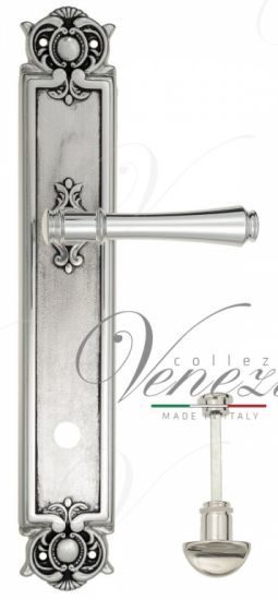 """Дверная ручка Venezia """"CALLISTO"""" WC-2 на планке PL97 натуральное серебро + черный"""