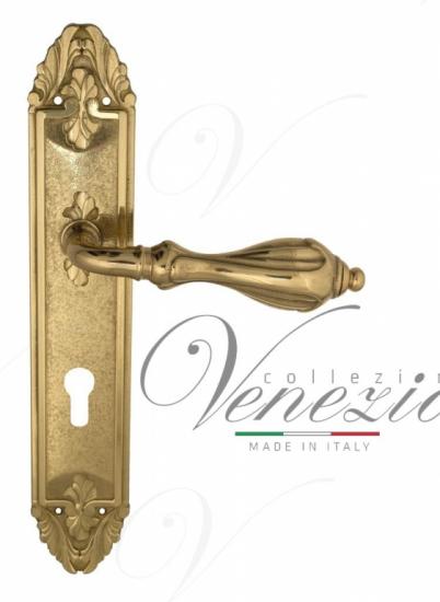 """Дверная ручка Venezia """"ANAFESTO"""" CYL на планке PL90 полированная латунь"""