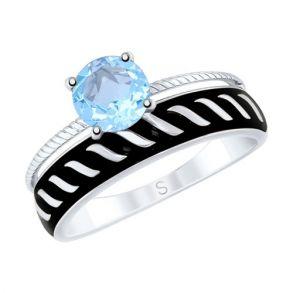 Кольцо из серебра с эмалью и топазом 92011612 SOKOLOV