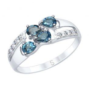 Кольцо из серебра с синими топазами и фианитами 92011646 SOKOLOV