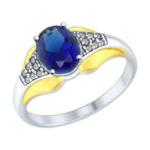Кольцо из серебра с синим корундом (синт.) и фианитами 88010045 SOKOLOV