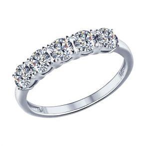 Кольцо из серебра с фианитами 89010005 SOKOLOV