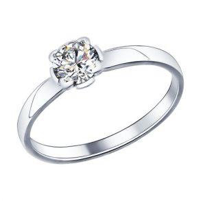 Помолвочное кольцо из серебра с фианитом 89010010 SOKOLOV