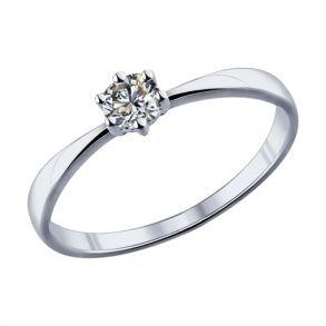 Помолвочное кольцо из серебра с фианитом 89010020 SOKOLOV
