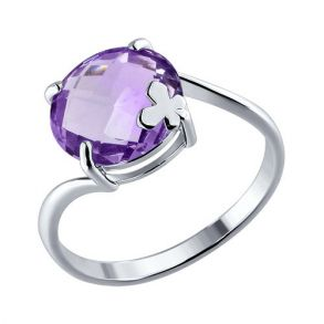 Кольцо из серебра с аметистом 92010205 SOKOLOV