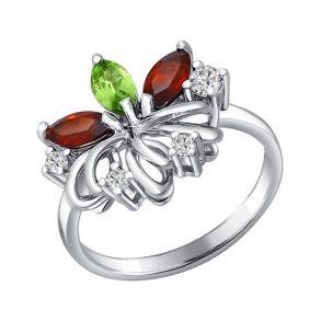 Кольцо из серебра с миксом камней 92010323 SOKOLOV