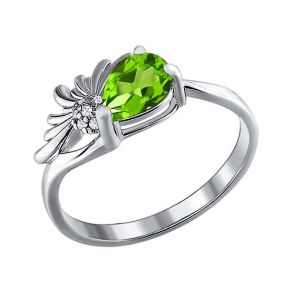Серебряное кольцо с хризолитом 92010347 SOKOLOV