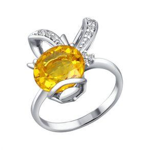 Серебряное кольцо с цитрином 92010385 SOKOLOV