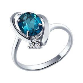 Кольцо из серебра с топазом и фианитами 92010397 SOKOLOV