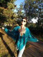 Шерстяное индийское пончо с вышивкой. Купить в Санкт-Петербурге красивое тёплое пончо для женщин