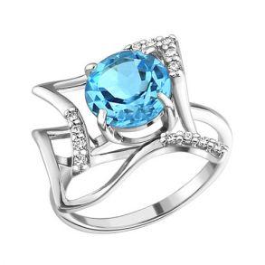 Кольцо из серебра с топазом и фианитами 92010562 SOKOLOV