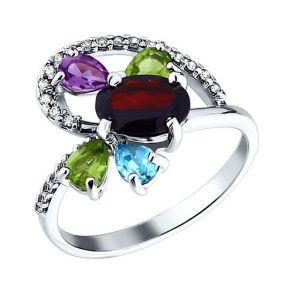 Кольцо из серебра с миксом из камней 92010600 SOKOLOV