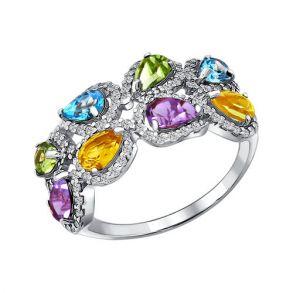 Кольцо из серебра с миксом камней 92010673 SOKOLOV