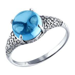Кольцо из серебра с топазом и фианитами 92010716 SOKOLOV