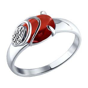 Кольцо из серебра с гранатом и фианитами 92010724 SOKOLOV
