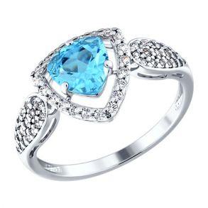 Кольцо из серебра с топазом и фианитами 92010774 SOKOLOV