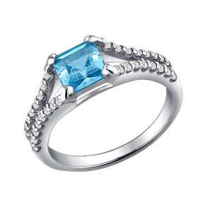 Кольцо из серебра с топазом и фианитами 92010900 SOKOLOV
