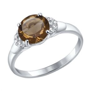 Кольцо из серебра с раухтопазом и фианитами 92011006 SOKOLOV