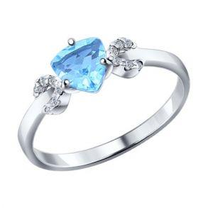 Кольцо из серебра с топазом и фианитами 92011038 SOKOLOV