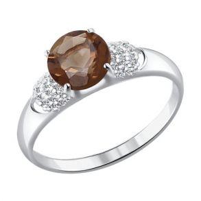 Кольцо из серебра с раухтопазом и фианитами 92011046 SOKOLOV
