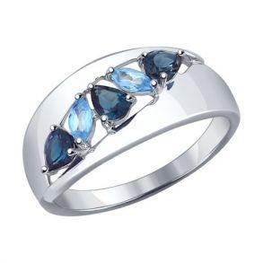 Кольцо из серебра с синими топазами 92011102 SOKOLOV
