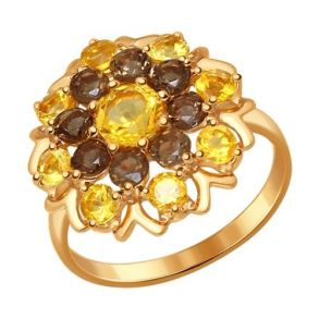 Кольцо из золочёного серебра с полудрагоценными вставками 92011222 SOKOLOV