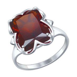 Кольцо из серебра с красным ситаллом 92011234 SOKOLOV