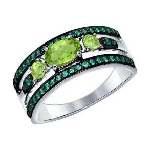 Кольцо из серебра с хризолитами и зелеными фианитами 92011257 SOKOLOV