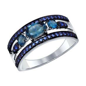 Кольцо из серебра с топазами и фианитами 92011258 SOKOLOV
