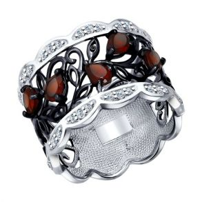 Кольцо из серебра с гранатами и фианитами 92011307 SOKOLOV